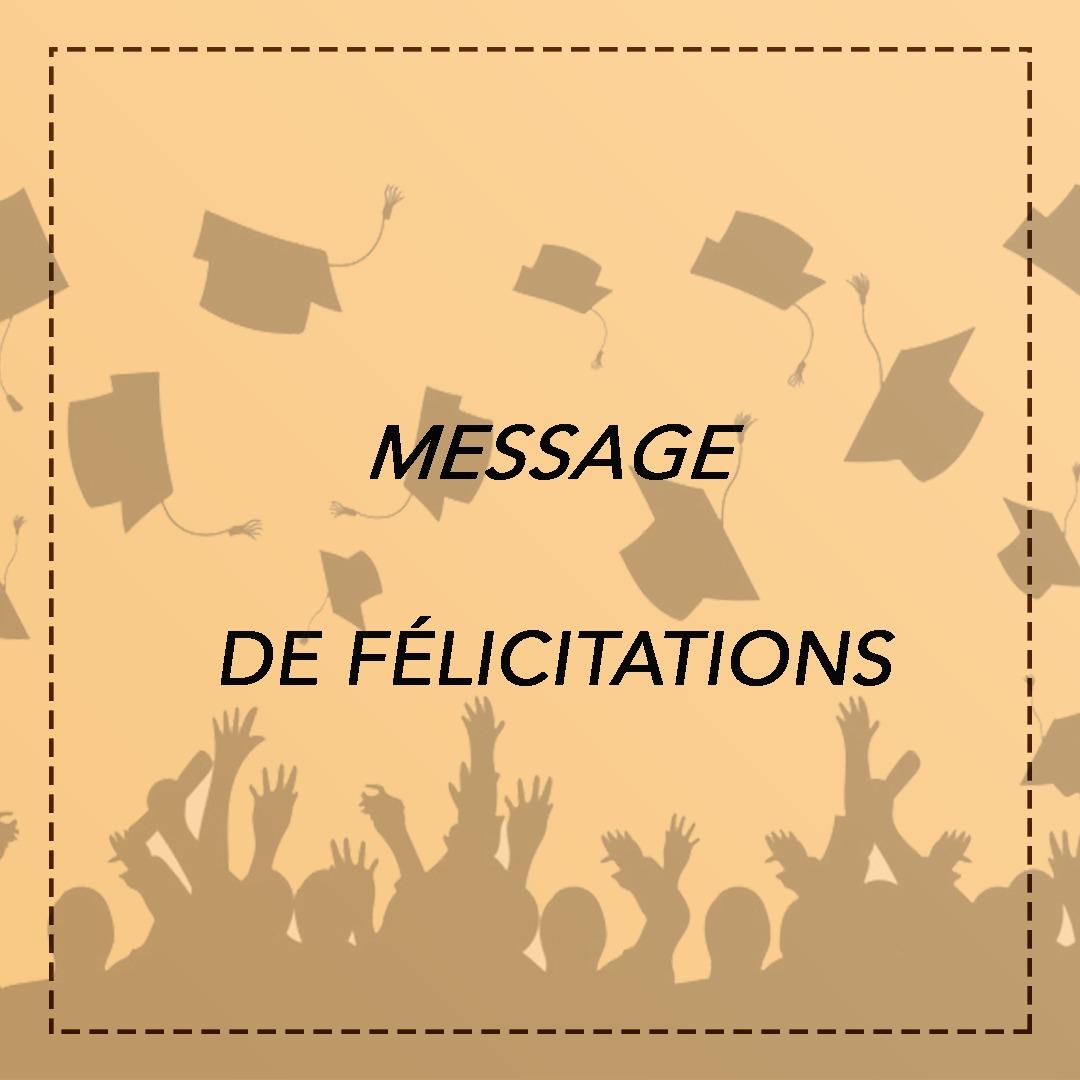 Message de félicitations